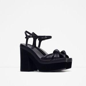 Zara velvet leather block heels 40